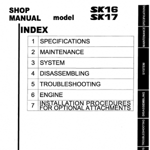 Kobelco Sk16 And Sk17 Excavator Service Manual