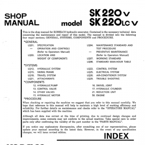 Kobelco SK220-V and SK220LC-V Excavator Service Manual