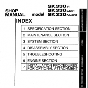 Kobelco Sk330 Iv, Sk330lc Iv And Sk330nlc Iv Excavator Manual
