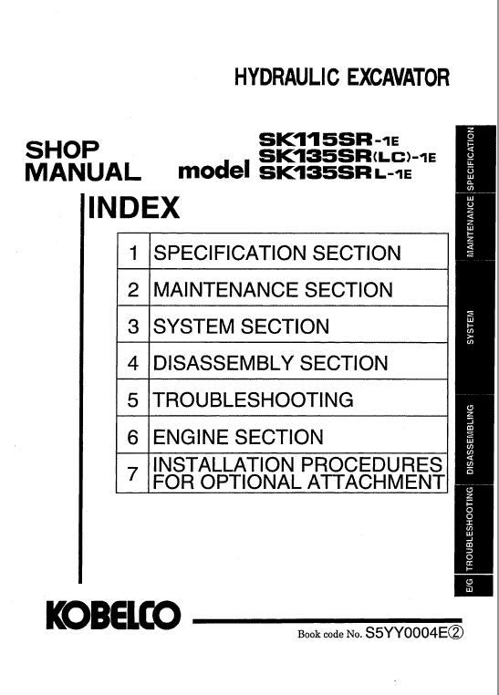 Kobelco Sk115sr-1e And Sk135sr-1e Excavator Service Manual