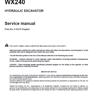 Case Wx210 And Wx240 Excavator Service Manual