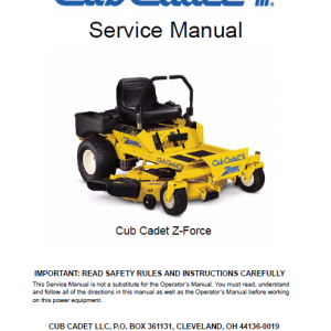 Cub Cadet Z-FORCE Series Service Manual