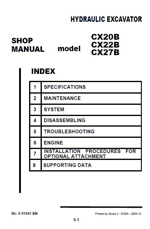 Case CX20B, CX22B and CX27B Excavator Service Manual