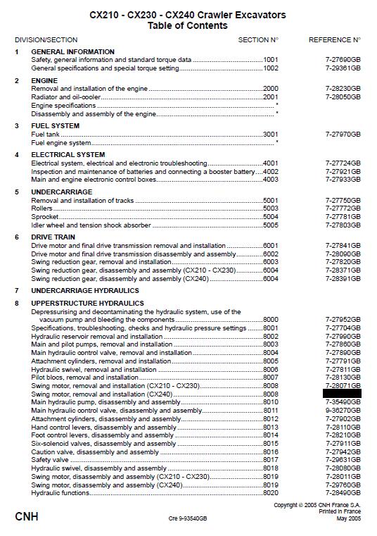 Case CX210, CX230 and CX240 Excavator Service ManualCase CX210, CX230 and CX240 Excavator Service Manual