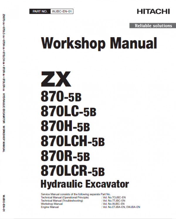 Hitachi ZX870-5B Excavator Service Manual