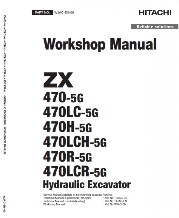 Hitachi Zx470-5g Excavator Service Manual