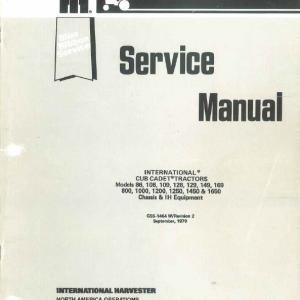 Cub Cadet 86, 108, 109, 128, 129, 149, 169 Tractor Service Manual