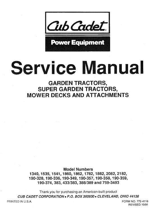 Cub Cadet 1340, 1535, 1541 And 1782 Service Manual