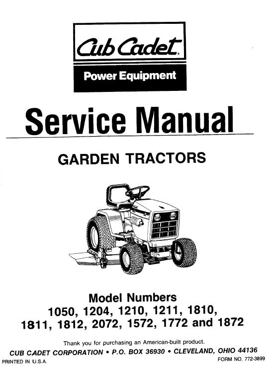 Cub Cadet 1810, 1811 And 1812 Service Manual