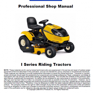Cub Cadet I Series Riding Tractors Service Manual