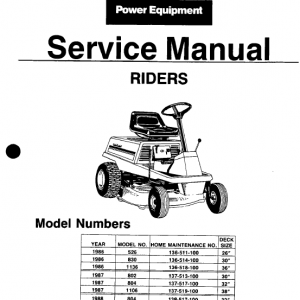 Cub Cadet 526, 802, 804, 830, 1106, 1136 Mower Service Manual