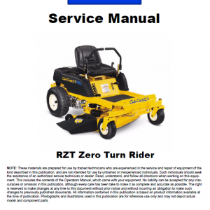 Cub Cadet RZT Series Service Manual