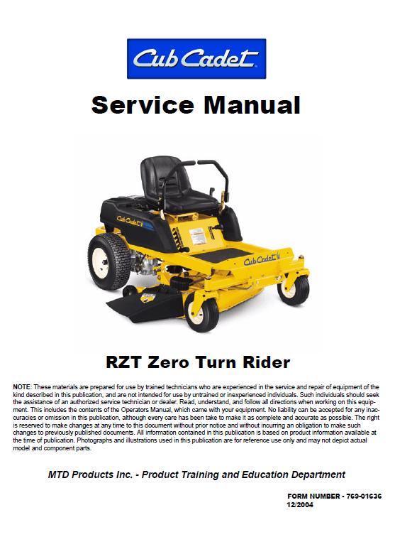 Cub Cadet RZT Series Service Manual