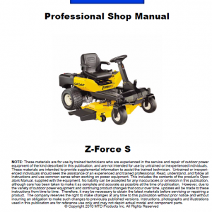 Cub Cadet Z-FORCE S Series Service Manual
