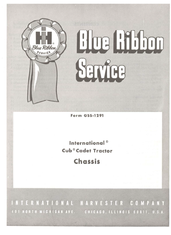 Cub Cadet Original Tractor Chassis And Engine Service Manual