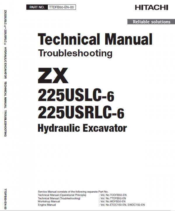 Hitachi Zx225uslc-6 And Zx225usrlc-6 Zaxis Excavator Manual