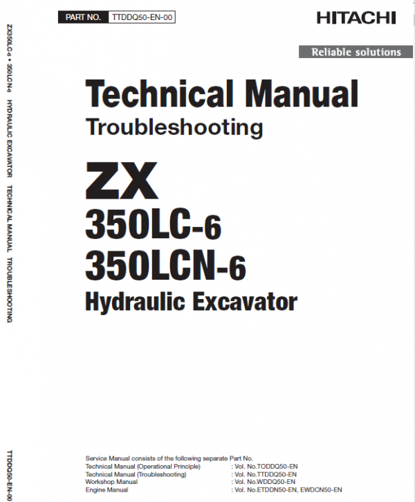 Hitachi Zx350lc-6 And Zx350lcn-6 Zaxis Excavator Manual