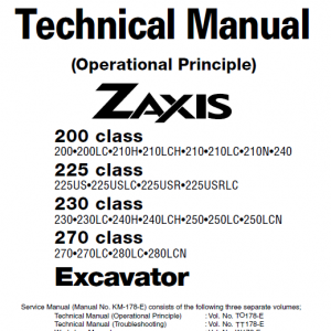 Hitachi Zx200, Zx225usr, Zx230 And Zx270 Zaxis Excavator Manual