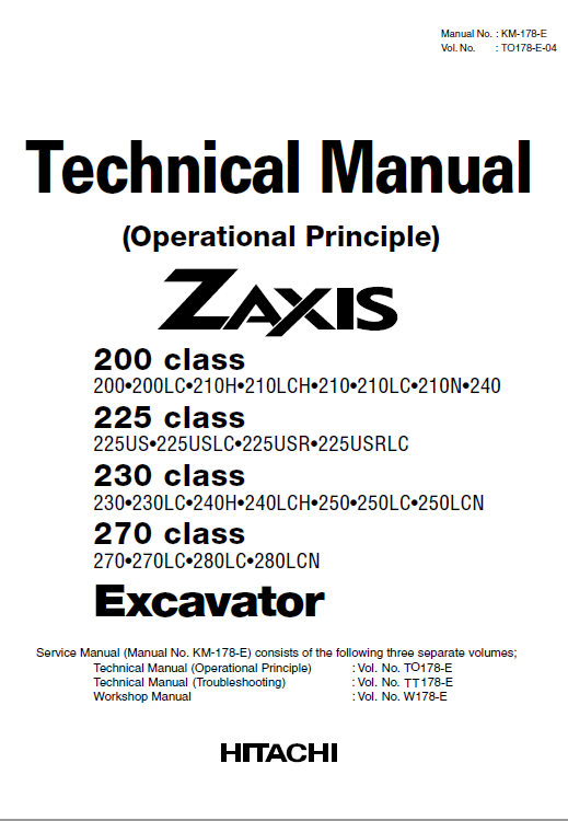 Hitachi Zx200, Zx225usr, Zx230 And Zx270 Zaxis Excavator Manual