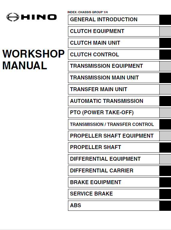 Hino Truck 2014 Conventional Service Manual