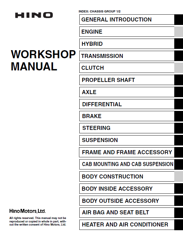 Hino Truck 2016 COE HEV Service Manual