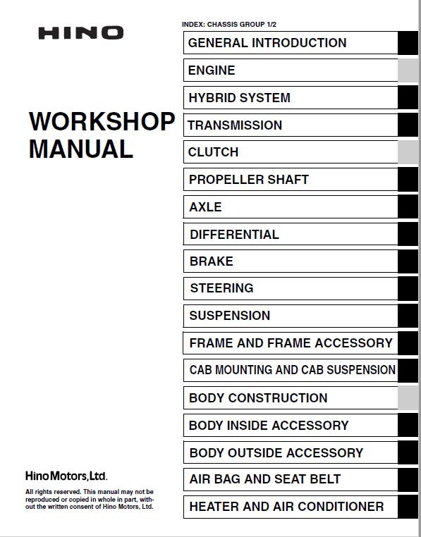Hino Truck 2017 COE HEV Service Manual