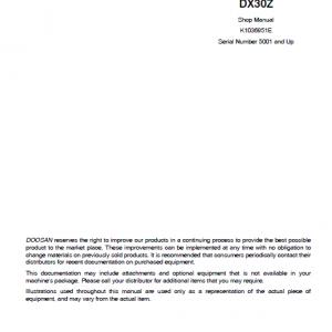 Doosan Dx30z Excavator Service Manual