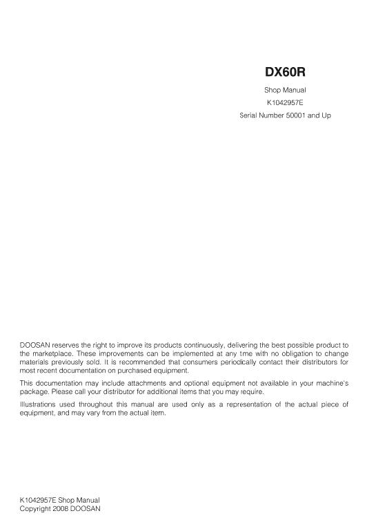 Doosan DX60R Excavator Service Manual