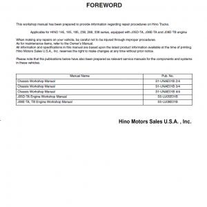 Hino Truck 2005 Service Manual