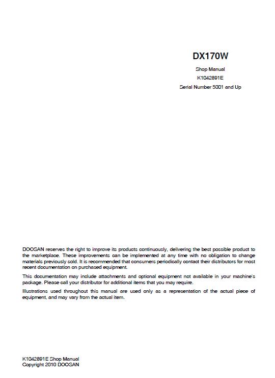 Doosan DX170W Excavator Service Manual