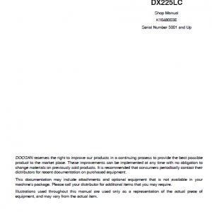 Doosan Dx210w Excavator Service Manual