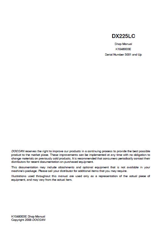 Doosan DX225LC Excavator Service Manual