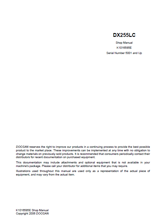 Doosan DX255 Excavator Service Manual