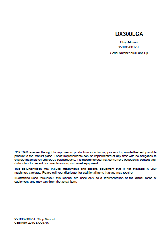 Doosan DX300LCA Excavator Service Manual