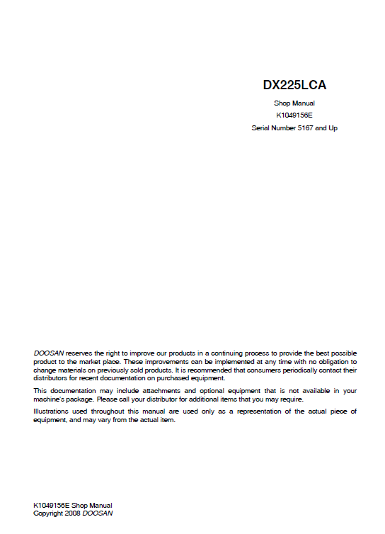 Doosan Dx255lca Excavator Service Manual