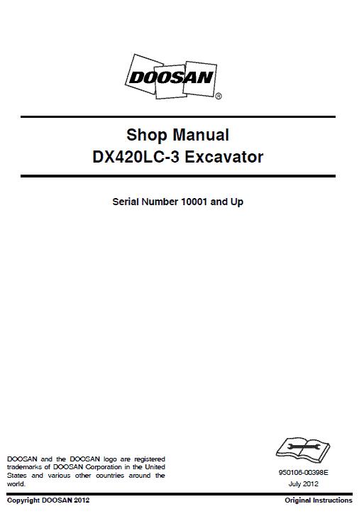 Doosan DX420LC-3 Excavator Service Manual