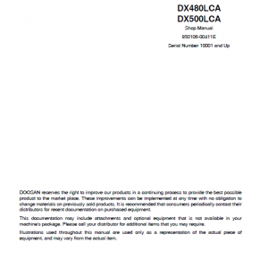 Doosan Dx480lca And Dx500lca Excavator Service Manual