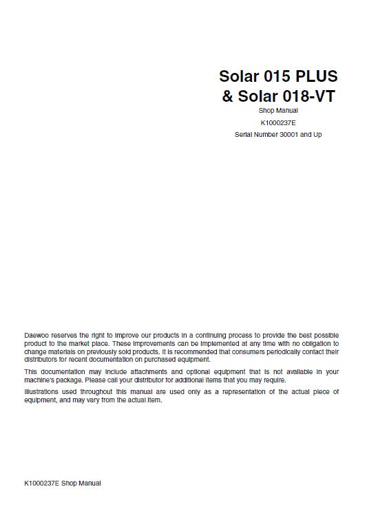 Daewoo Solar Daewoo Solar S018-VT Excavator Service Manual