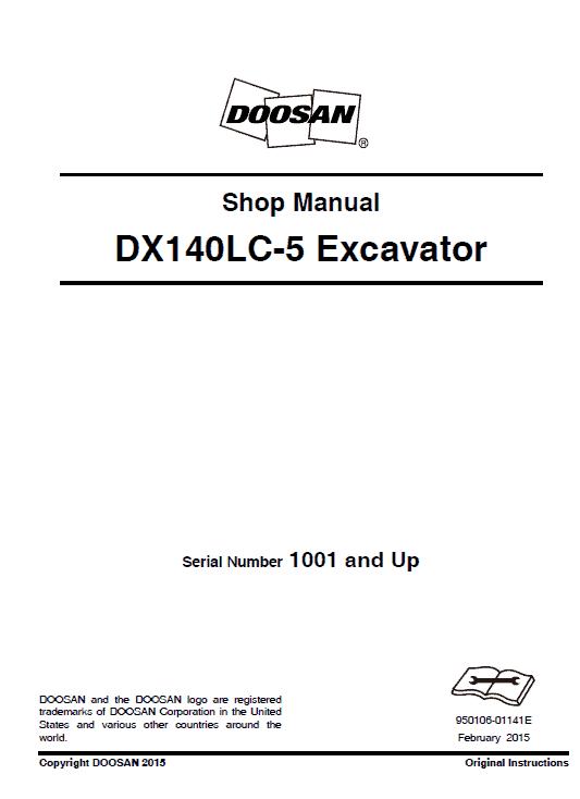 Doosan Dx140lc-3 And Dx140lc-5 Excavator Service Manual