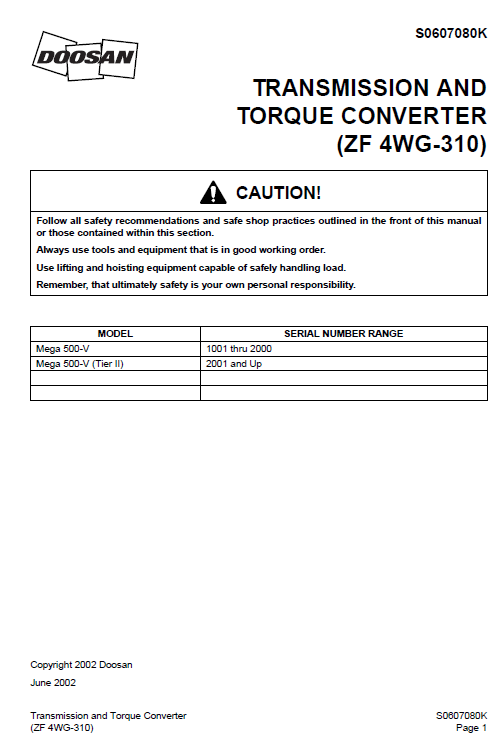Daewoo Mega M500-v Wheel Loader Service Manual