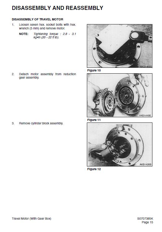 Daewoo Solar S015 Plus Excavator Service Manual