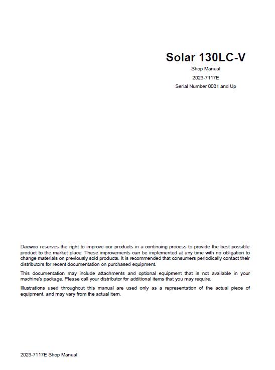 Daewoo Solar S130LC-V Excavator Service Manual