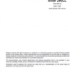 Daewoo Solar S290ll Excavator Service Manual
