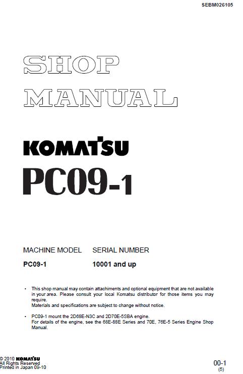 Komatsu Pc09-1 Excavator Service Manual