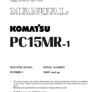 Komatsu PC15MR-1 Excavator Service Manual