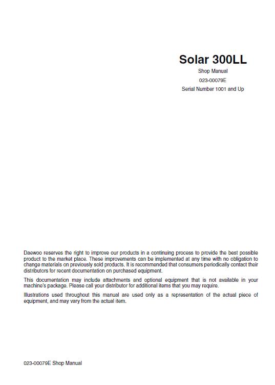 Daewoo S300LL Excavator Service Manual