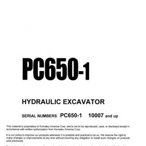 Komatsu Pc650-1 Excavator Service Manual