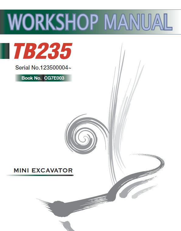Takeuchi Tb235 Compact Excavator Service Manual