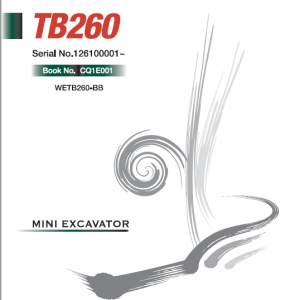 Takeuchi Tb260 Compact Excavator Service Manual