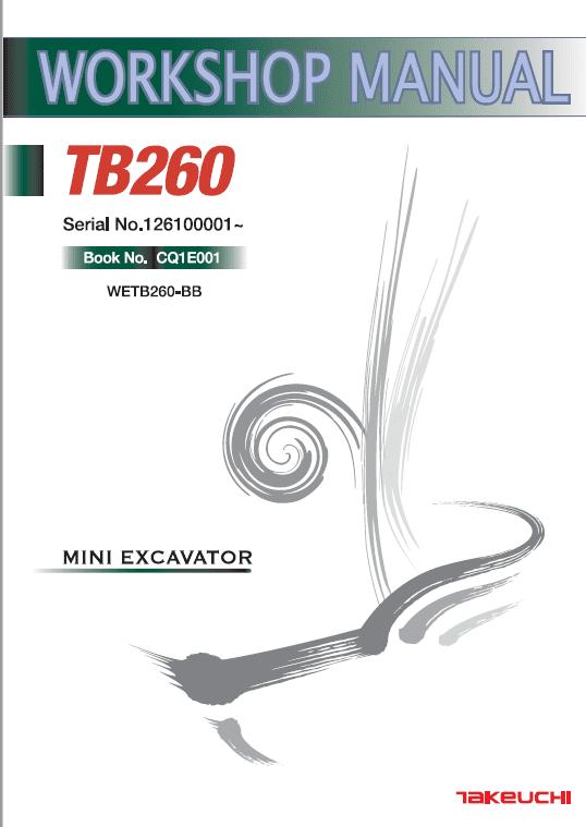 Takeuchi TB260 Compact Excavator Service Manual